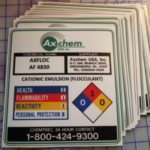 High bond vinyl stickers produced for Axchem USA Inc.